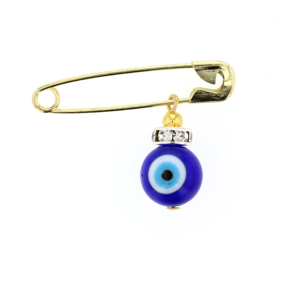 DiamondJewelryNY Evil Eye, Glass Evil Eye Charm With Brass Safety Pin To Hook (A)