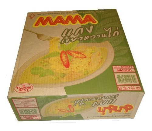 Mama Instant Noodle Chicken Green Curry, 55g X 30 Packages (1 Case) by MAMA