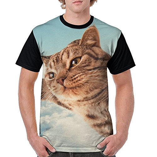 Jingclor Men's A Cat Can Fly Short Sleeve T-Shirt O-Neck Cotton 3D Printing Tees Casual T-Shirts]()