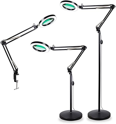 4-In-1 LED Magnifying Glass Floor Lamp With Clamp White//Warm White Lighted