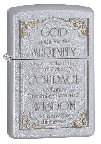 Zippo Serenity Prayer Pocket Lighter, Satin Chrome