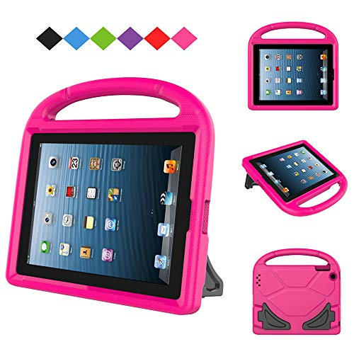 MENZO Kids Case for iPad 2 3 4 , Light Weight Shockproof Handle Stand Kids Friendly Case for iPad 2, iPad 3rd Generation, iPad 4th Generation Tablet, Rose