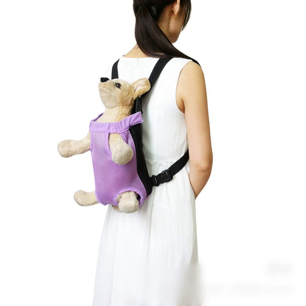 Purple Small Purple Small Vfdsvbdv Pet Backpack Dog Out Shoulder Chest Bag Breathable Mesh Dog Bag (color   Purple, Size   S)