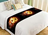 NNBZ Custom Soccer Ball Art On Fire Bed Runner Cotton Bedding Scarf Bedding Decor 20x95 inches