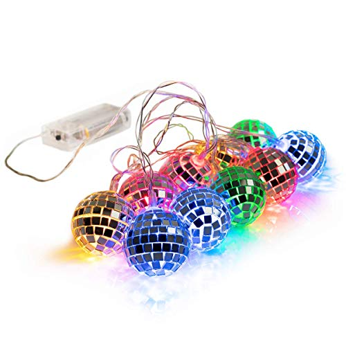 West Ivory 5.5 feet 10 Mixed Multi-Colors Mirror Disco Ball String Fairy Globe Light - Battery Powered Decorative Indoor Outdoor -