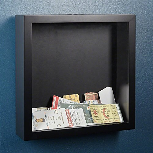 Shadow Box Top Loading by HomeWetBar with Removable Glass - Black (Scrapbook Shadow Box)