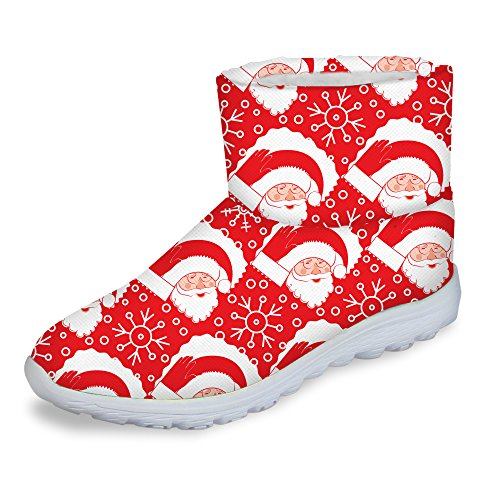 Womens Boots Claus Winter Santa Shoes FOR DESIGNS Theme Warm Footwear Fashion U Christmas Short vxaOBwOXgq