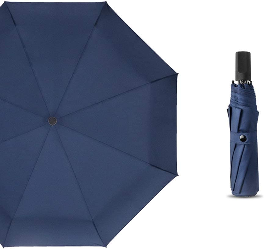 Color : Blue HongTeng Umbrella Folding Rainy Day Sunny Reinforced Windproof Dual Use Simple Business College 23.6x38.6in