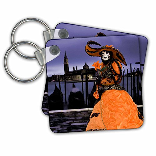 Gondola Costume (Danita Delimont - Venice Carnival - Italy, Venice. Composite of woman in Carnival costume. - Key Chains - set of 2 Key Chains (kc_249185_1))