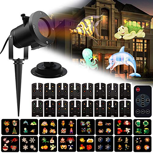 Christmas Lights Projector 16 Patterns LED Slides Remote Control Indoor or Outdoor Waterproof Garden Decorations with 32ft Power Cable