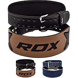 "RDX Weight Lifting Belt for Fitness Gym Training – Double Prong Cowhide Leather Belt with 4"" Padded Lumbar Back Support – Great for Bodybuilding, Powerlifting, Deadlifts Workout & Squats Exercise"