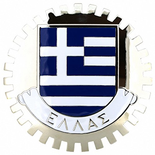 FLAG OF GREECE-CAR GRILLE EMBLEM BADGES .cccarbadges.