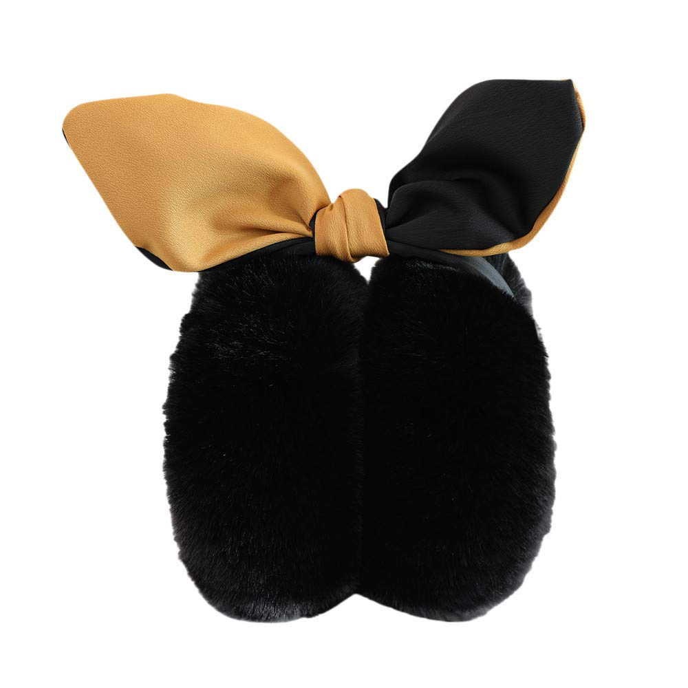 Amazon.com: Voberry Foldable Ear Warmers, Women's Girls' Bunny Ear Fleece  Ear Muffs Faux Fur Winter Outdoor Earmuffs Headband (Black): Sports &  Outdoors