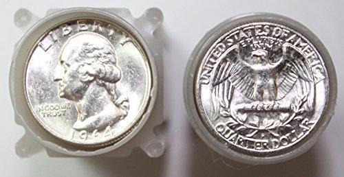- 1964 Washington 90% Silver Quarter Roll 40ct ($10 Face) Brilliant Uncirculated
