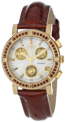 - Invicta Women's 10315 Wildflower Chronograph White Mother-Of-Pearl Dial Crystal Accented Brown Patent Leather Watch
