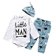Magical Baby Baby Boys Daddy's Little Man Long Sleeve Bodysuit and Deer Pants Outfit With Hat (70(0-6M), White+Blue)