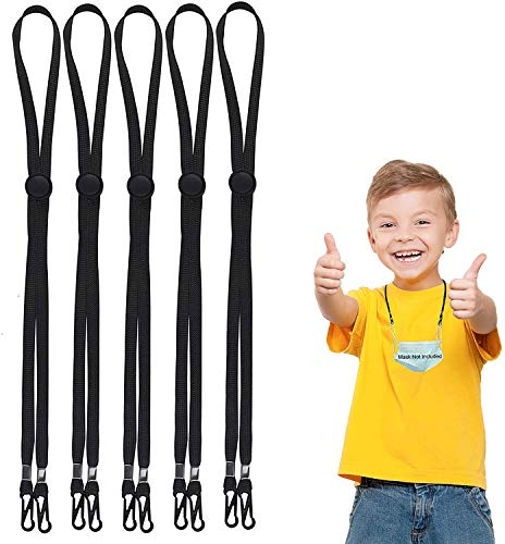 5 Pack Kids Face Mask Lanyards, Adjustable Length Mask Lanyard with Clip, Mask Lanyard Strap for Child and Adults, Comfortable Around The Neck Rest Ear Saver, Black