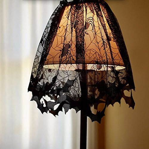 Leoie Halloween Lace Lamp Shades with Black Spiders and Bats Web Design, 3 in 1 Lampshade Topper/Window Curtain/Fireplace Cloth for Halloween Home Decor