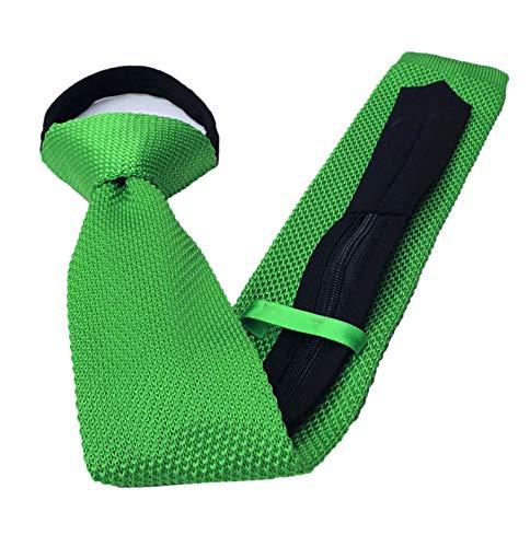 Vintage Casual Formal Skinny Knit Groomsmen Zipper Tie Green Knitting Narrow Necktie Funky Ties for Mens -