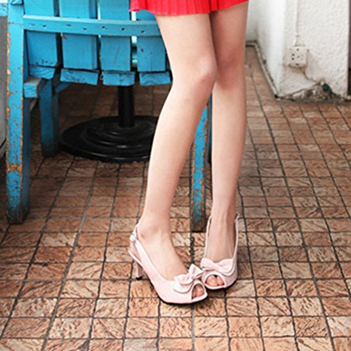 Slingback Toe Talon Femmes Talons Rose Peep Découpe Bowtie Robe Strap Sandales Chaton Cheville Sandales wtwAfqn5