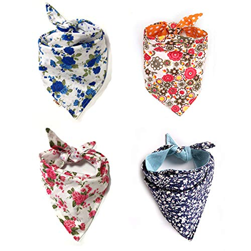 4 Pack Cute Dog Bandana Multi Coloured Scarves Accessories for Pet Cats and Puppies