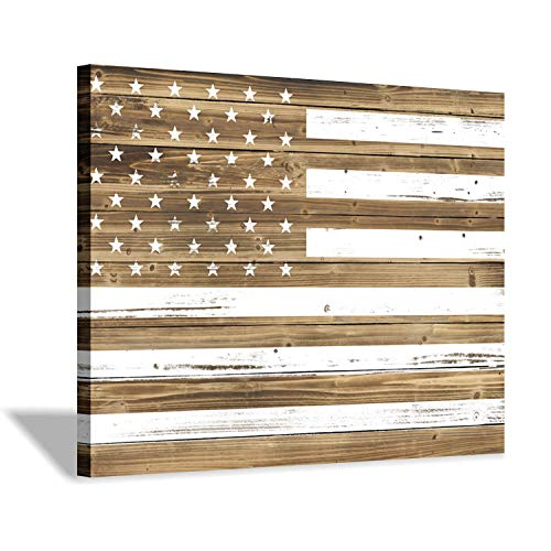 Hardy Gallery American Flag Wall Art Print: Old Glory Artwork Picture Painting on Canvas for Home Office (24'' x 18'')