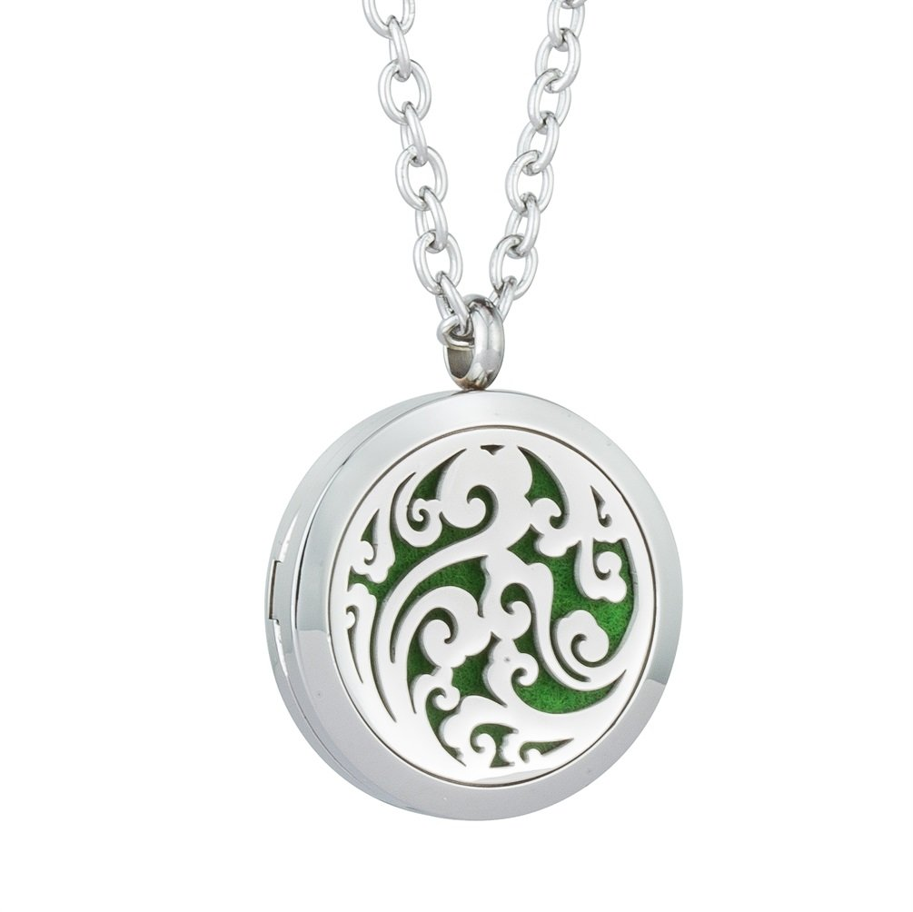 Jenia Aromatherapy Essential Oil Diffuser Necklace - Fragrance Pendant Stainless Steel Locket - Perfume Gift for Women, Girl with 8 Colors Pads Kids Child Men Teen Girls Gifts