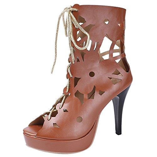 Talon Peep Aiguille Toe Gladiateur Brown Lacets D'été Bottines À Coolcept Femmes Chaussures ZUEx00