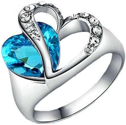 SUNSCSC Women's 18K Gold Platd Blue Austrian Crystal Heart Rings Silver