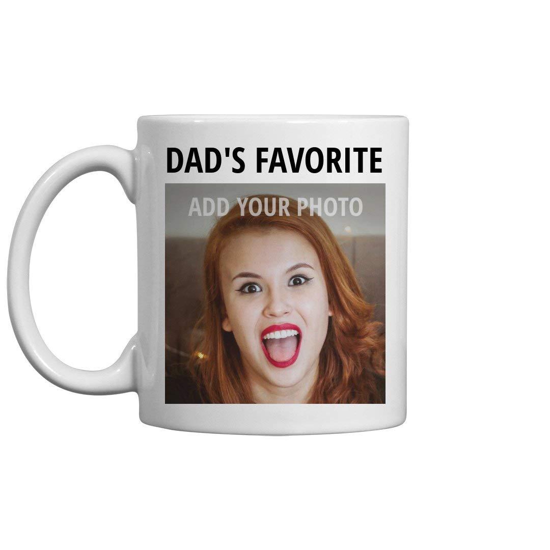 Custom Upload Photo Mug: Dad's Favorite: 11oz Ceramic Coffee Mug by Customized Girl (Image #1)