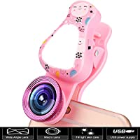 Cell Phone Camera Lens, 3 in 1 Rechargeable LED Selfie Lights with 15X Macro Lens & 140°Wide Angle Lens, Adjustable Brightness Fill Light for iPhone, Samsung Galaxy, iPad ect Smartphones (Pink)