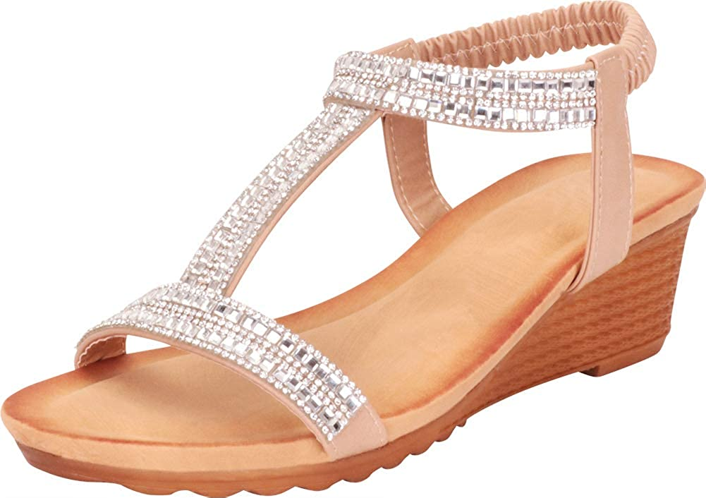 Taupe Cambridge Select Women's T-Strap Crystal Rhinestone Stretch Slingback Low Wedge Sandal