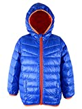 American Trends Kids Warm Down Jackets For Girls Boys Puffer Winter Coat Lightweight Packable Hooded Parka Zipper Outerwear Sea Blue 7-8T/Label 150