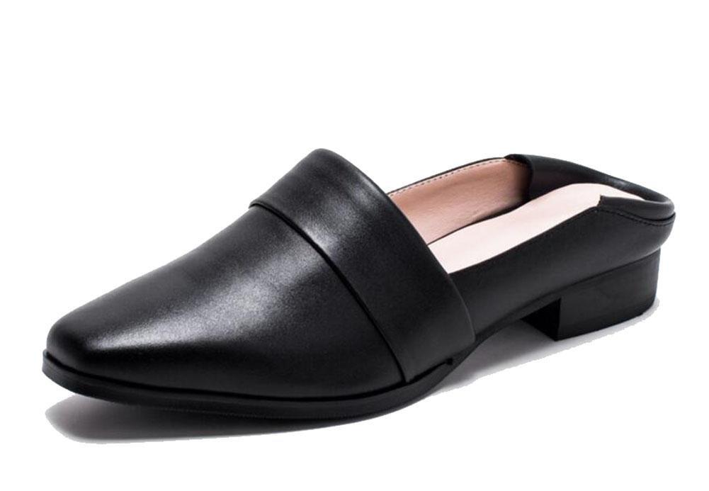 noir noir GLTER Femmes Sandales Cool Chaussons Cuir Baotou Pantoufles Slip-On Chaussures épaisses Loafer Chaussons Chaussures en peau de vache Femmes Sandales Chaussures Chaussures