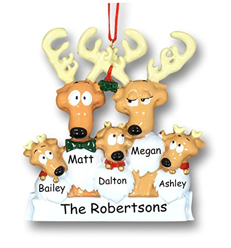 Personalized Christmas Holiday Reindeer Family 5 Mistletoe Decoration Hanging Christmas Ornament Custom Names]()