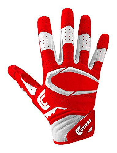Cutters Gloves S451 Rev Pro 2.0 Receiver Safety Cornerback Football Gloves With C-Tack Grip, RED/WHITE, Youth L