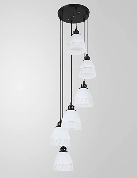 6 luces Minimalista moderna Iluminación de dormitorio Lámpara de araña Villa Escalera Creativa Lámpara colgante de techo alto Piso dúplex Escalera de caracol Lámpara larga Sala de estar 30x150cm: Amazon.es: Hogar