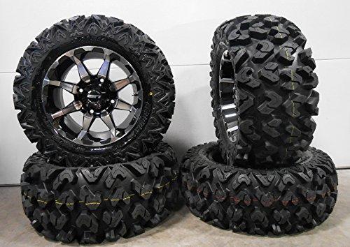 """Bundle - 9 Items: STI HD6 14"""" Wheels Machined 26"""" Rip Saw Tires [4x156 Bolt Pattern 3/8x24 Lug Kit]"""