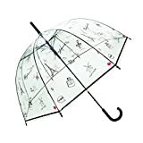 SMATI Women's Stick Bubble Umbrella Clear Dome -Auto Open France Design (Bonjour Paris)