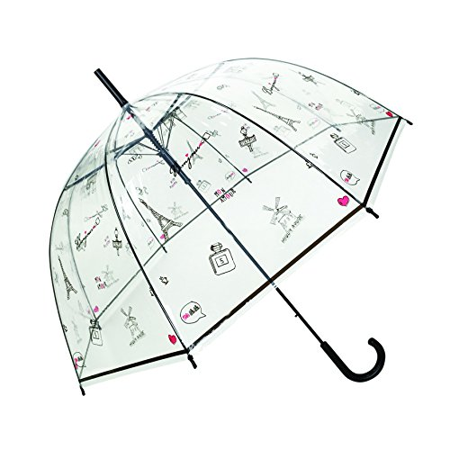 SMATI Women's Stick Bubble Umbrella Clear Dome -Auto Open France Design (Bonjour Paris) ()