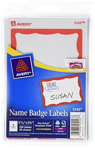 Red Name Badge Labels - Avery Print or Write Name Badge Labels, Red Border, 2.34