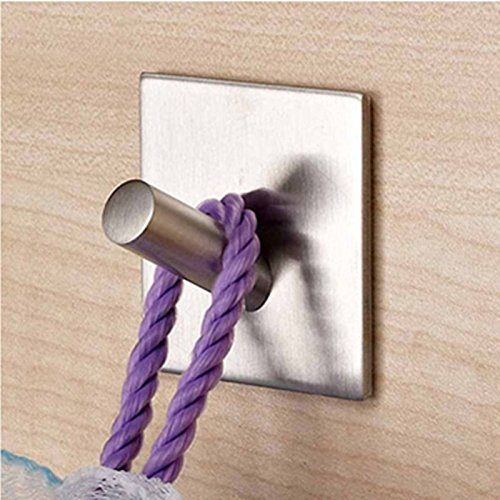 ZoCr 304 Stainless Steel Towel Hook, Bathroom Towel Hook, Hat and Coat Hook,Robe Hook,3M Self Adhesive Wall Hooks with Foursquare Base for Bathroom Lavatory Closet Home Kitchen (1) hot sale 2017