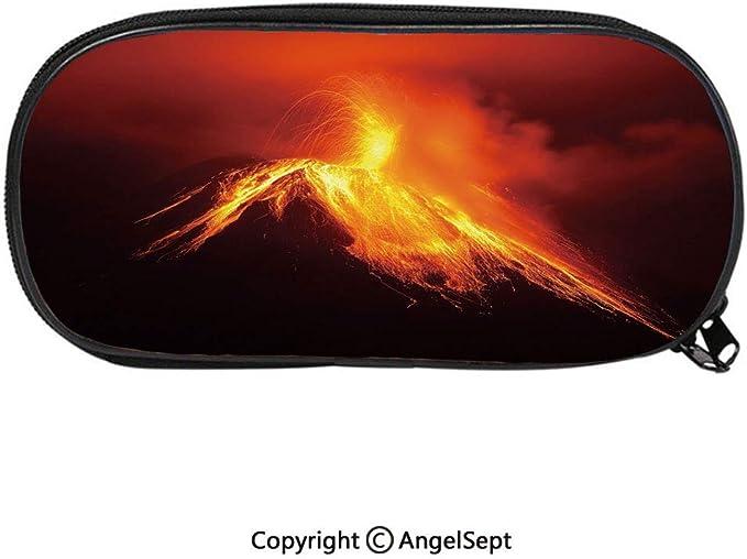 BoxTungurahua Volcano - Estuche unisex para lápices y bolígrafos (doble cremallera), diseño de volcán en el Ecuador: Amazon.es: Juguetes y juegos