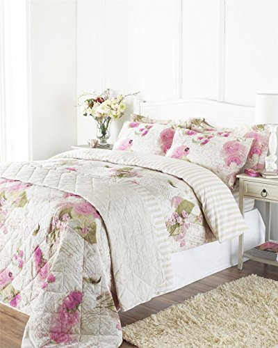 FLORAL ROSE POSTCARD USA QUEEN (230CM x 220CM - UK KINGSIZE) PINK CREAM REVERSIBLE COTTON BLEND COMFORTER COVER