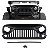 Hooke Road Angry Gladiator Front Matte Black Grille Grid Vader Grille Grid Grill Accessories 2007-2018 Jeep Wrangler Rubicon Sahara Sport & Wrangler Unlimited JK