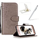 Wallet Leather Case for Samsung Galaxy J7 2018,Strap Leather Cover for Samsung Galaxy J7 2018,Herzzer Premium Elegant Gray Dandelion Butterfly Printed Magnetic Foldable Full Body Folio Pu Leather Soft Inner Stand Cover with Card Slots