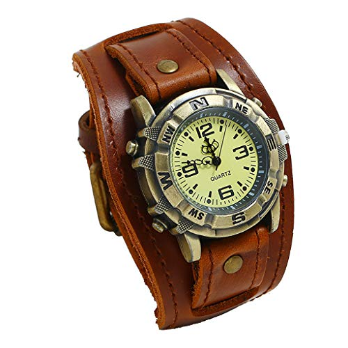Men Watches,Fxbar Luxury Quartz Sport Military Stainless Steel Dial Leather Band Wrist Watch Business Automatic Watch (Brown)