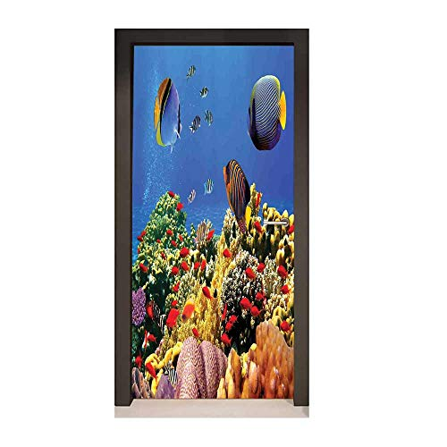 Homesonne Ocean Door Decal Submerged Colorful Old Coral Colony Fishes at Tranquil Shallow Red Sea Image Print Door Creative Decoration Multicolor,W23.6xH78.7