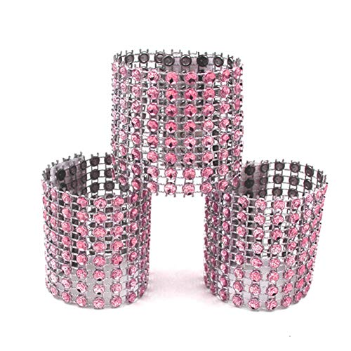 - 100PCS Napkin Rings, Plastic Mesh Rhinestone Diamond Napkin Buckle Bling Curtain Buckle Sparkling Bows for Table Decorations Wedding Reception DIY Dinner Party Chair Sash Tablecloth (rose gold)