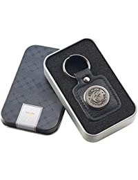 Strong and Courageous LuxLeather Keychain in Tin Gift Box